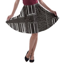 Graphics House Brick Brick Wall A Line Skater Skirt