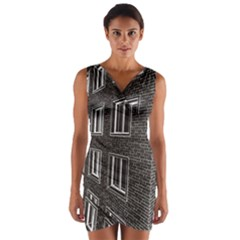 Graphics House Brick Brick Wall Wrap Front Bodycon Dress