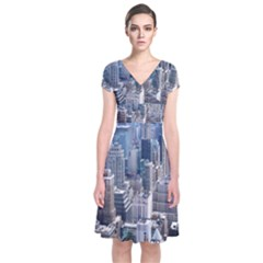 Manhattan New York City Short Sleeve Front Wrap Dress
