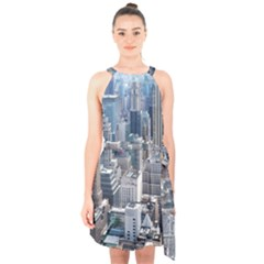 Manhattan New York City Halter Collar Waist Tie Chiffon Dress