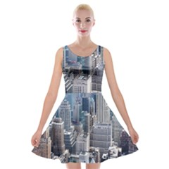 Manhattan New York City Velvet Skater Dress