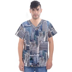 Manhattan New York City Men s V Neck Scrub Top