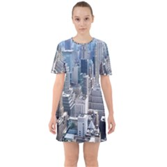 Manhattan New York City Sixties Short Sleeve Mini Dress