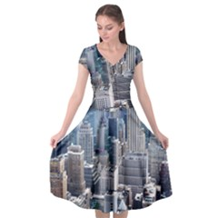 Manhattan New York City Cap Sleeve Wrap Front Dress