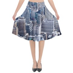 Manhattan New York City Flared Midi Skirt