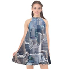 Manhattan New York City Halter Neckline Chiffon Dress