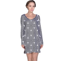 Seamless Weave Ribbon Hexagonal Long Sleeve Nightdress