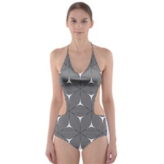 Seamless Weave Ribbon Hexagonal Cut Out One Piece Swimsuit