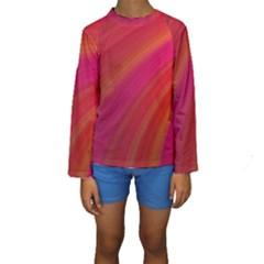 Abstract Red Background Fractal Kids  Long Sleeve Swimwear