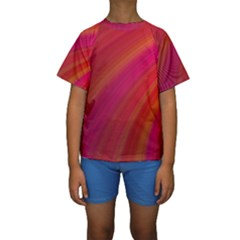 Abstract Red Background Fractal Kids  Short Sleeve Swimwear