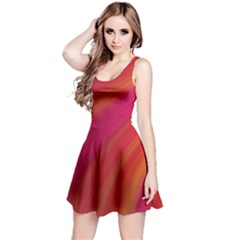 Abstract Red Background Fractal Reversible Sleeveless Dress
