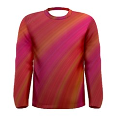 Abstract Red Background Fractal Men s Long Sleeve Tee