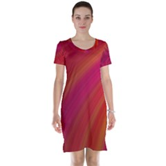 Abstract Red Background Fractal Short Sleeve Nightdress