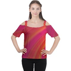 Abstract Red Background Fractal Cutout Shoulder Tee