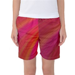 Abstract Red Background Fractal Women s Basketball Shorts