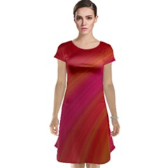 Abstract Red Background Fractal Cap Sleeve Nightdress