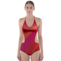 Abstract Red Background Fractal Cut Out One Piece Swimsuit
