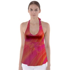 Abstract Red Background Fractal Babydoll Tankini Top