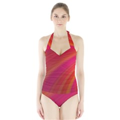 Abstract Red Background Fractal Halter Swimsuit