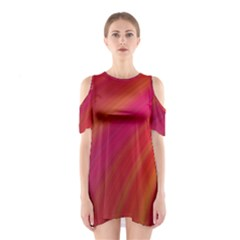 Abstract Red Background Fractal Shoulder Cutout One Piece