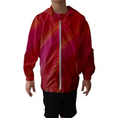 Abstract Red Background Fractal Hooded Wind Breaker (kids)
