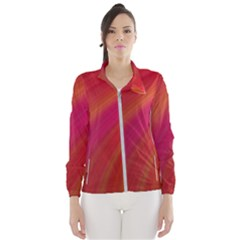Abstract Red Background Fractal Wind Breaker (women)