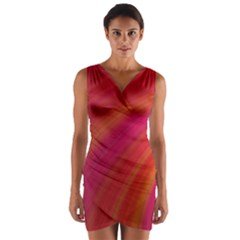 Abstract Red Background Fractal Wrap Front Bodycon Dress