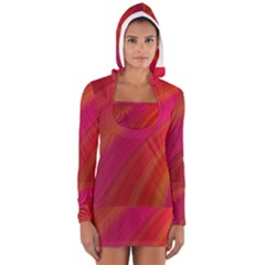 Abstract Red Background Fractal Long Sleeve Hooded T Shirt