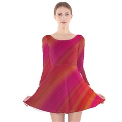 Abstract Red Background Fractal Long Sleeve Velvet Skater Dress