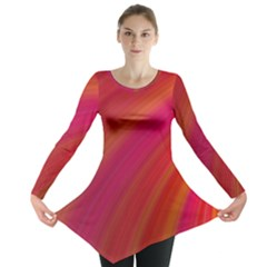 Abstract Red Background Fractal Long Sleeve Tunic