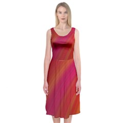Abstract Red Background Fractal Midi Sleeveless Dress