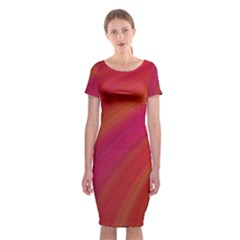 Abstract Red Background Fractal Classic Short Sleeve Midi Dress