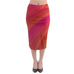 Abstract Red Background Fractal Midi Pencil Skirt