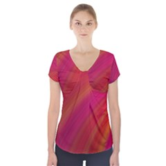 Abstract Red Background Fractal Short Sleeve Front Detail Top
