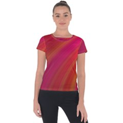 Abstract Red Background Fractal Short Sleeve Sports Top