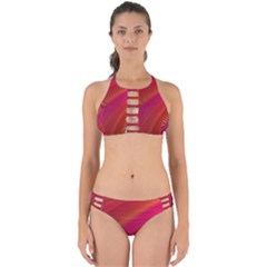 Abstract Red Background Fractal Perfectly Cut Out Bikini Set