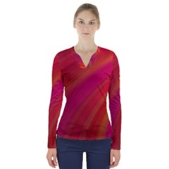 Abstract Red Background Fractal V Neck Long Sleeve Top