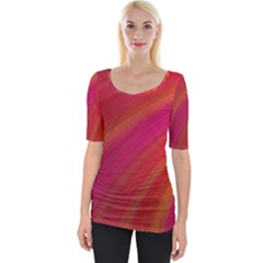 Abstract Red Background Fractal Wide Neckline Tee