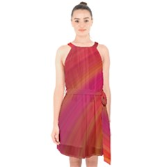 Abstract Red Background Fractal Halter Collar Waist Tie Chiffon Dress