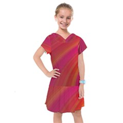 Abstract Red Background Fractal Kids  Drop Waist Dress