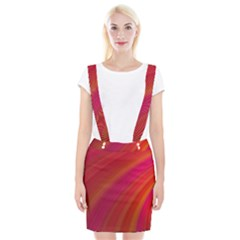 Abstract Red Background Fractal Braces Suspender Skirt