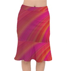Abstract Red Background Fractal Mermaid Skirt