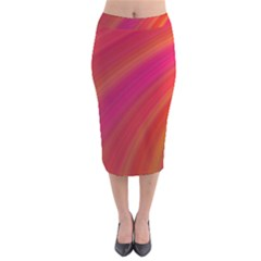 Abstract Red Background Fractal Velvet Midi Pencil Skirt