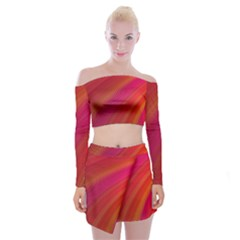Abstract Red Background Fractal Off Shoulder Top With Skirt Set