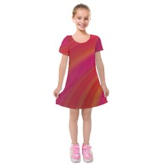 Abstract Red Background Fractal Kids  Short Sleeve Velvet Dress