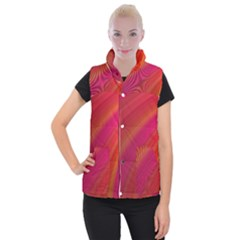 Abstract Red Background Fractal Women s Button Up Puffer Vest