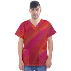 Abstract Red Background Fractal Men s V Neck Scrub Top