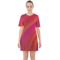 Abstract Red Background Fractal Sixties Short Sleeve Mini Dress