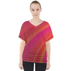 Abstract Red Background Fractal V Neck Dolman Drape Top