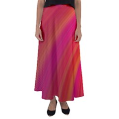 Abstract Red Background Fractal Flared Maxi Skirt